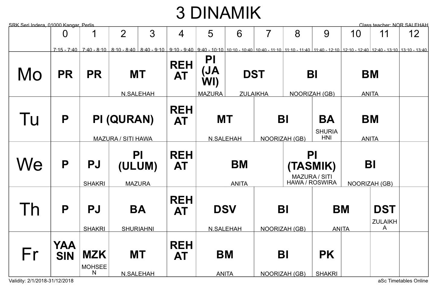 Jadual Waktu Kelas 3 Dinamik Fawwaz 2018 Srk Seri Indera Omaq Org